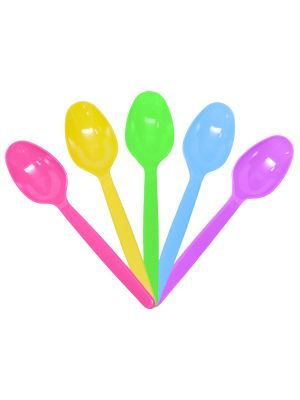 Heavy Weight Colored Plastic Spoons, 1,000/cs